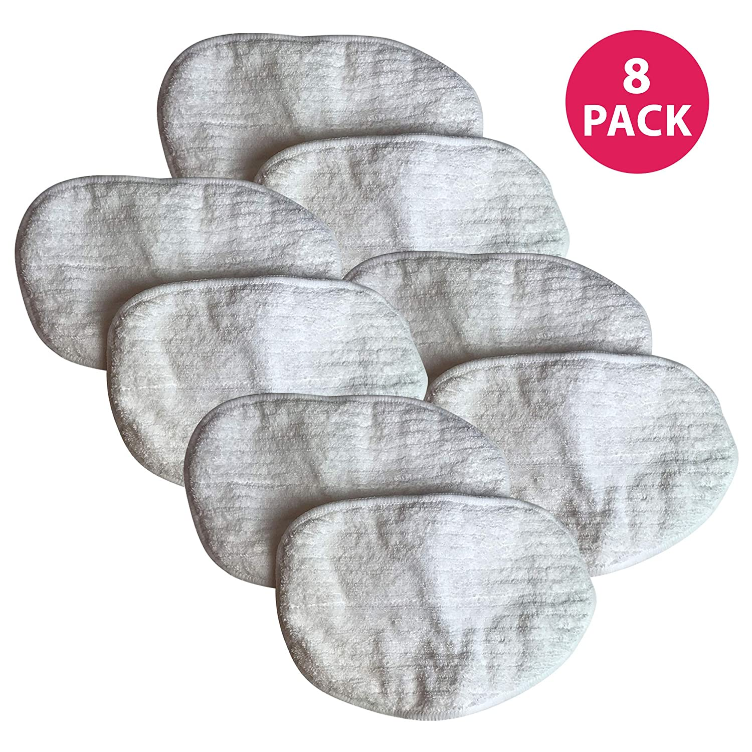 Think Crucial Replacement Mop Pads Compatible with Bissell Replacement Microfiber Steam Mop Pad Parts - Hardwood Mop Head Part - Parts 203-2158, 2032158, 3255, 32525 Model 1867 - Bulk (8 Pack)
