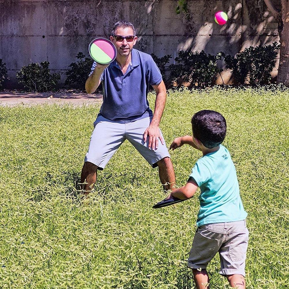 Enshey Throw & Fang Fledermaus Nylon Ball Spiel Set - Kind Kind im freien Garten Garten Strand Picknick Party Familie Poolspielzeug