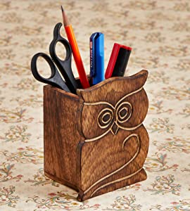 Birthday Gifts Owl Design Rustic Wood Pencil Holder Pen Cup Desk Caddy Organizer Office Supplies Accessories Gift Ideas Office Coworkers