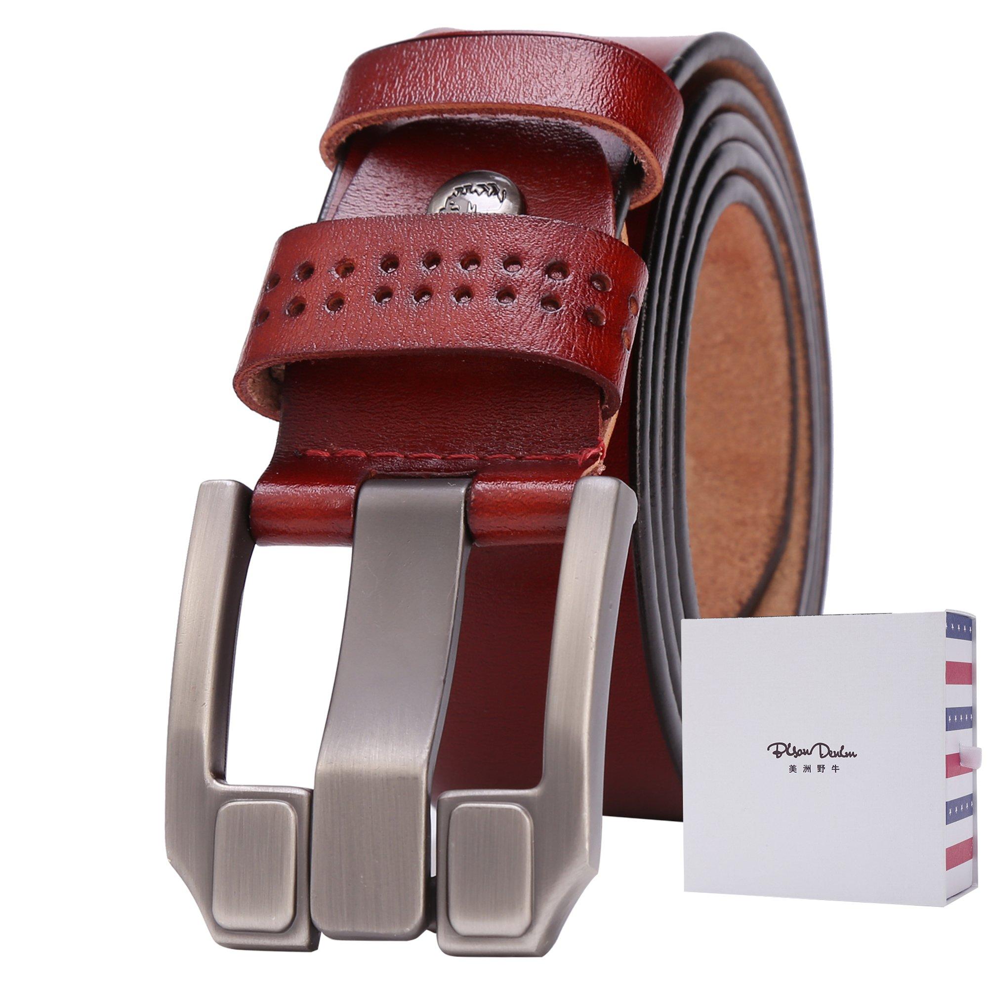 BISON DENIM Classic Belts For Men - Mens Genuine Leather Belt for Dress & Jeans Brown 125cm
