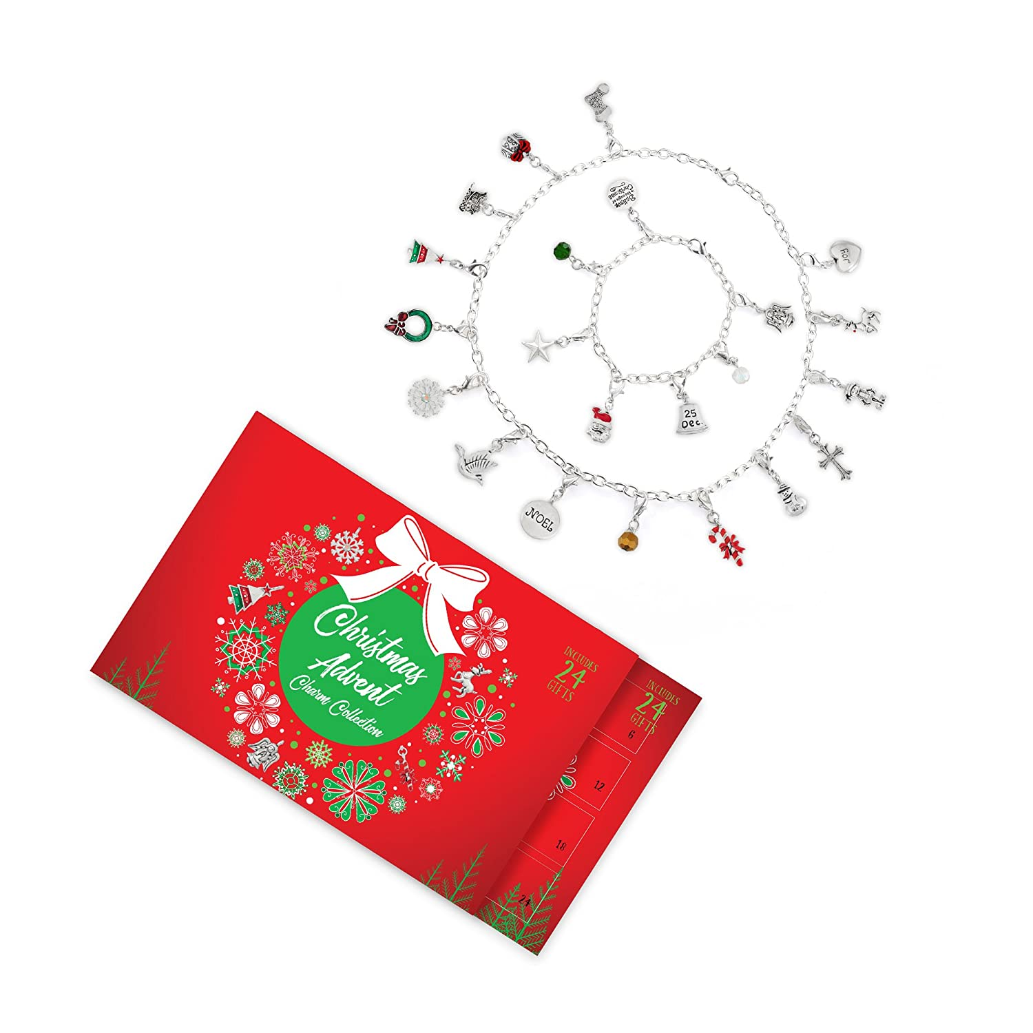 Collection Bijoux Advent Calendar Set Christmas Cheer 22 Charms with 1 Bracelet and 1 Necklace