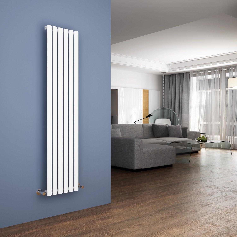 ELEGANT 1600 x 360mm Vertical Column Radiator White Oval Single Panel Designer Radiator Heater