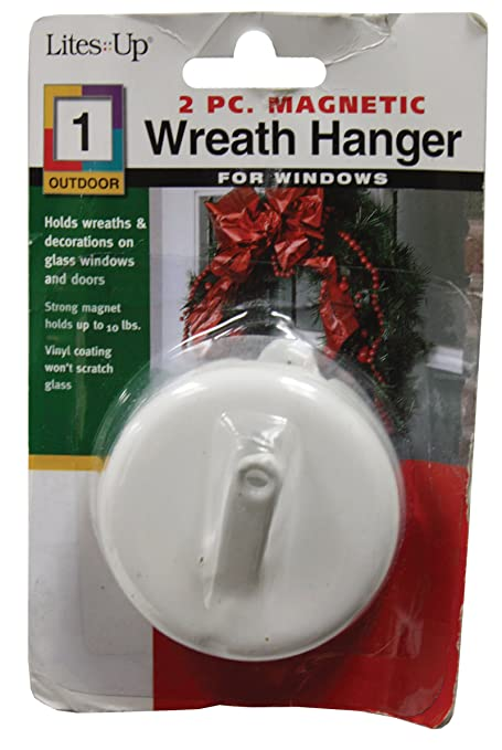 Lites Up 21444 10 Pound Capacity Magnetic Wreath Hanger 1 Count, White