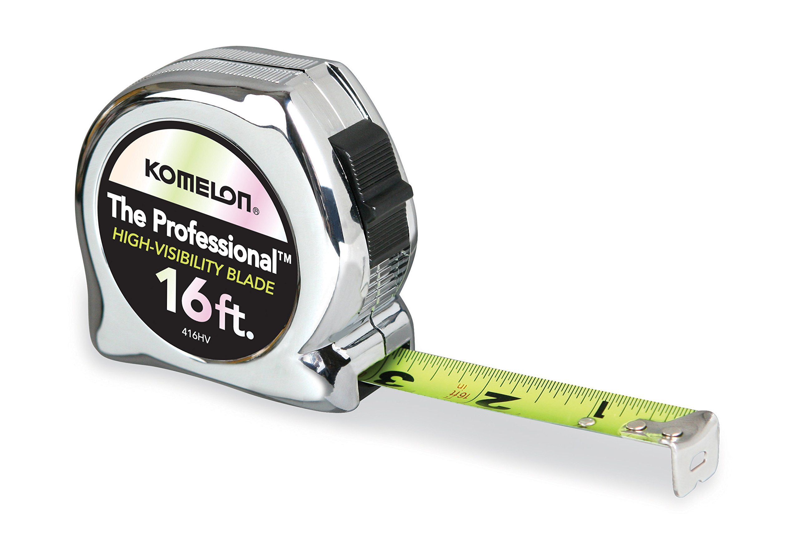 Komelon 416HV High-Visibility Professional Tape Measure, 16-Feet by 3/4-Inch, Chrome
