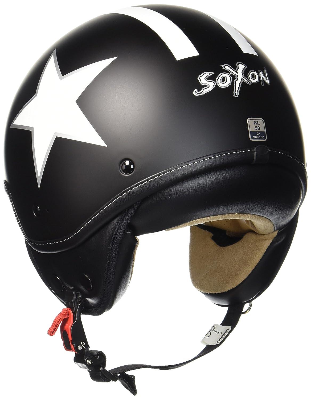 ECE certified S SOXON SP-301-STAR Red Vintage Jet-Helmet Pilot Moto-Helmet Biker Retro Chopper Bobber Vespa-Helmet Cruiser Mofa Scooter-Helmet Red//Star Cloth Bag incl 55-56cm