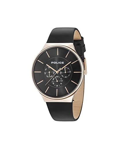 93385ad2579c Police Mens Multi dial Quartz Watch with Leather Strap 15044JSR 02   Amazon.co.uk  Watches