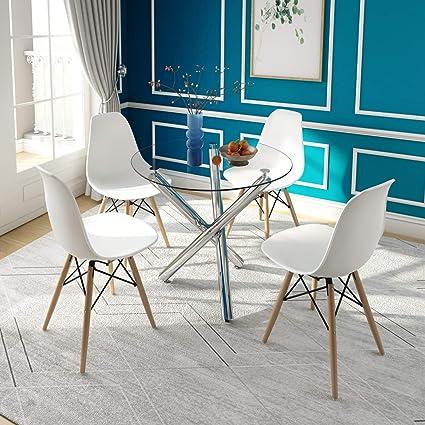 Tavolo Da Pranzo E 4 Sedie Tavolino Rotondo In Vetro Con Gambe Cromate E 4 Sedie