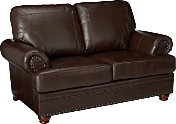 Fantastic Colton Loveseat With Rolled Arms Brown Creativecarmelina Interior Chair Design Creativecarmelinacom