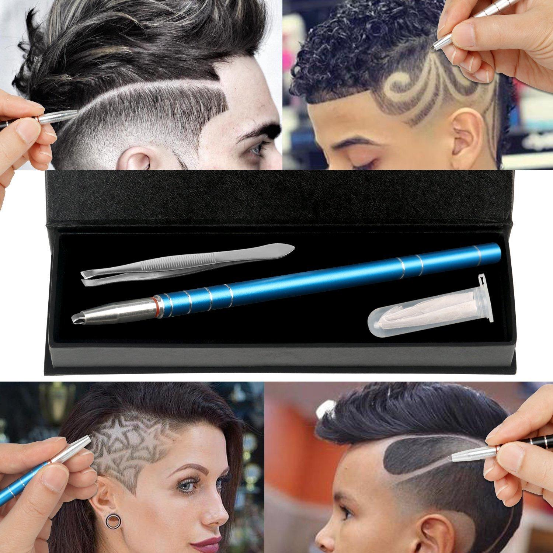 Haarbürste mit, magiforet-Tattoo Pen, für Kugelschreiber, Tatoo Trim Styling Face Augenbrauen Shaping-, Klingen mit Rasierer Stift + 10 + Pinzette für Männer Frauen, Teenager, Schwar Haarbürste mit für Kugelschreiber