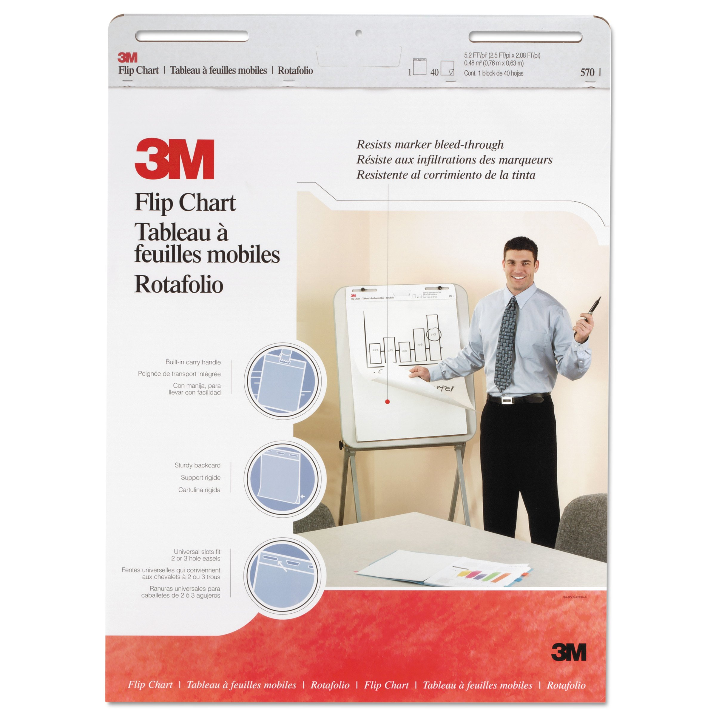 3M Flip Chart, 25 x 30-Inches, White, 40-Sheets/Pad by 3M