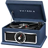 Victrola 4-in-1 Nostalgic Plaza Bluetooth Record Player with 3-Speed Turntable and FM Radio, Blue