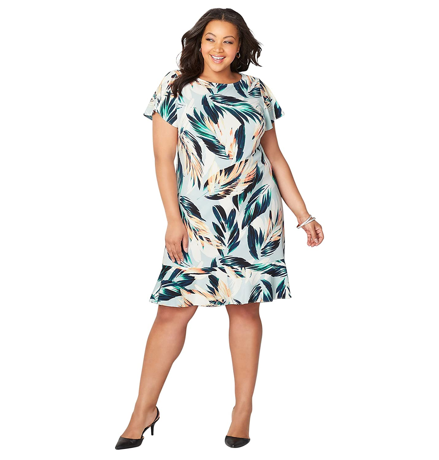 fe5d2e82d45 Answer it in style with this pretty dress in an allover palm leaf print.  Finished with a flounce hem