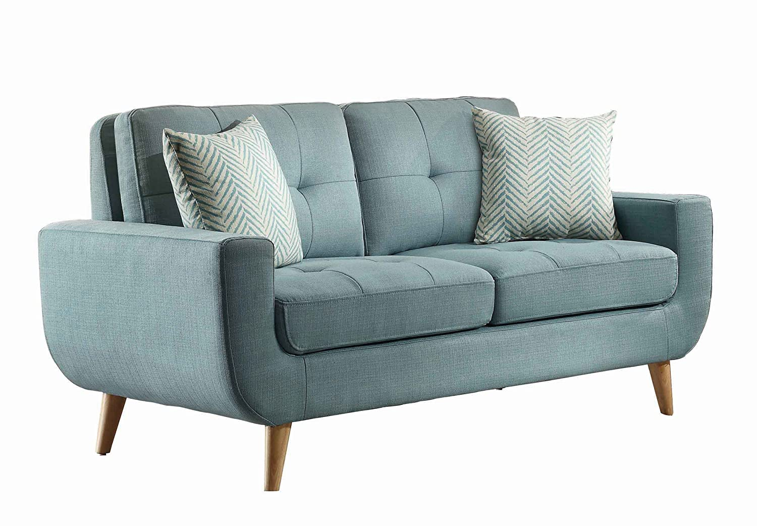Amazon.com: Homelegance Deryn Mid Century Modern Loveseat With Tufted Back  And Two Herringbone Throw Pillows, Teal: Kitchen U0026 Dining