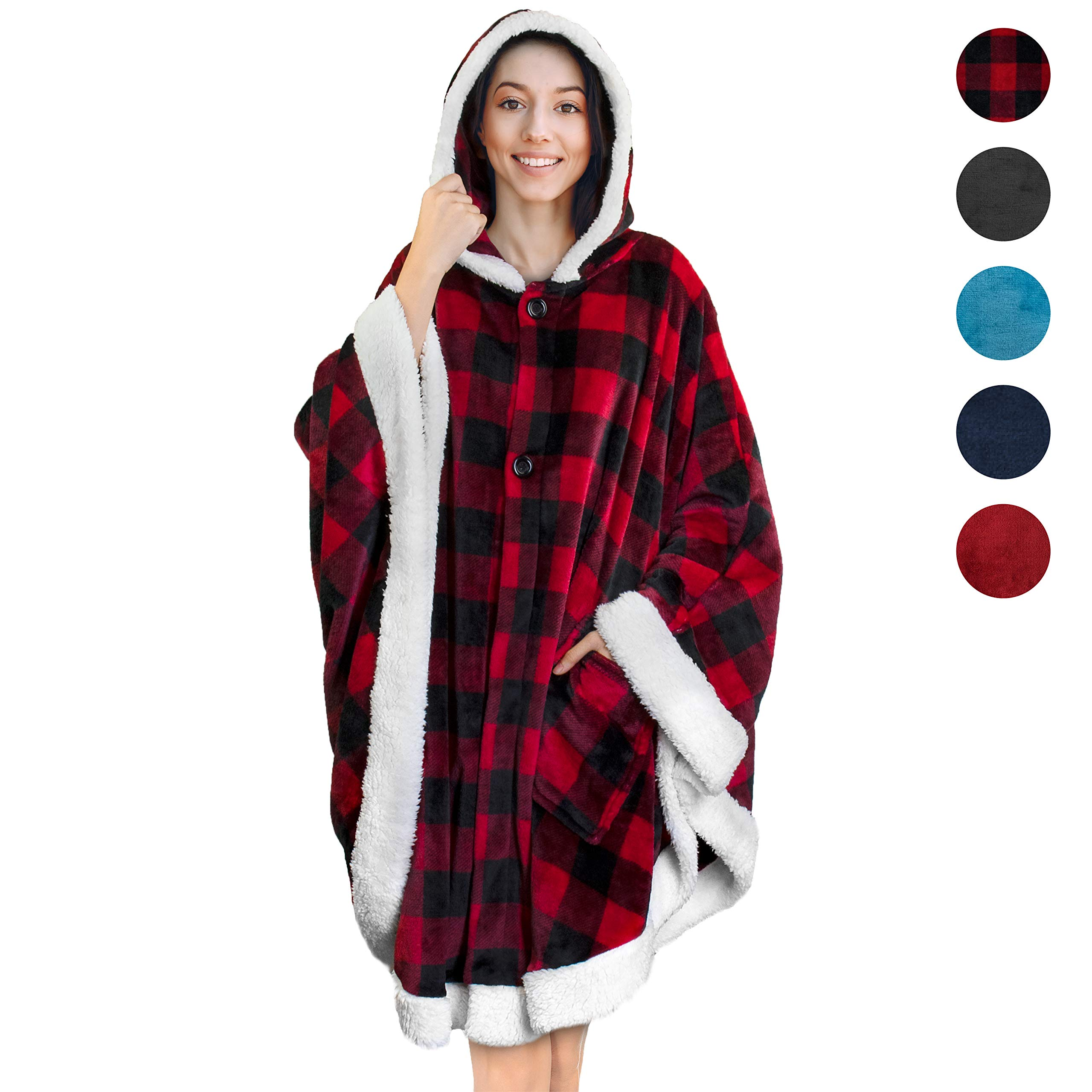 PAVILIA Angel Wrap Hooded Blanket   Throw Poncho Wrap with Soft Sherpa Fleece   Plush, Warm Wearable Blanket with Pockets for Women Gift (Checker Red) by PAVILIA