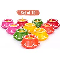 TIED RIBBONS 10 pcs Handmade Waxed Clay Diya Set for Home Indoor Outdoor Diwali Decoration (5 cm x 5 cm x 2.39 cm, Multicolor)