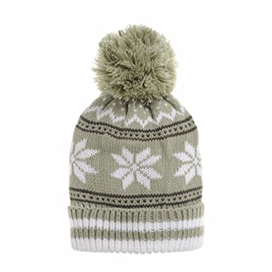 5dd663c290c WITHMOONS Knitted Fairs Isle Nordic Bobble Pom Beanie Hat AC5181 (Beige)