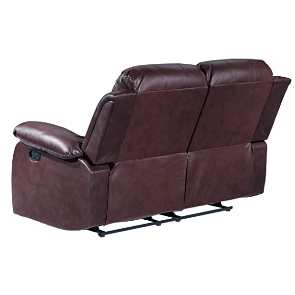 Homelegance Double Reclining Loveseat, Brown Bonded Leather