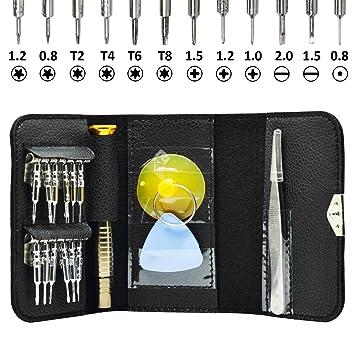Incutex Herramientas de 16 Piezas Set para reparación Destornillador para teléfono móvil Smartphone iPad Portátiles etc.