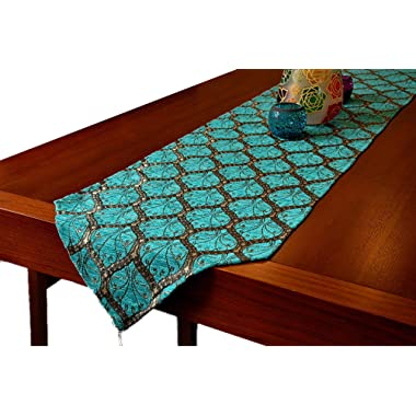 Gold Case Table Runner 90x14(231cm x 37cm) Luxury Peacock Series (Blue/90 x14 )