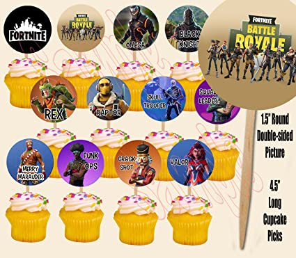Battle Royal Fortnit Cupcake Picks Double Sided Images Cake Topper 12 Video