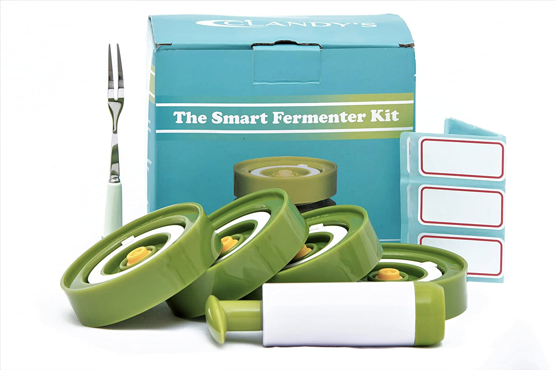 Smart Fermenting Lids Kit : Easy Fermenter in Wide Mouth Jars, Ideal for Sauerkraut, Kimchi, Pickles Or Probiotic Foods. 4 Lids, Extractor Pump, Fork Pickles + 12 Jar Labels! User Guide Included!