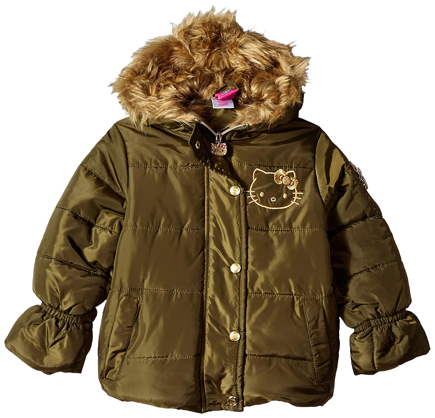 5b0bd3b76 Hello Kitty Girl's All Over Printed Puffer Jacket with Fur Trim Hood Down  Coat: Amazon.co.uk: Clothing