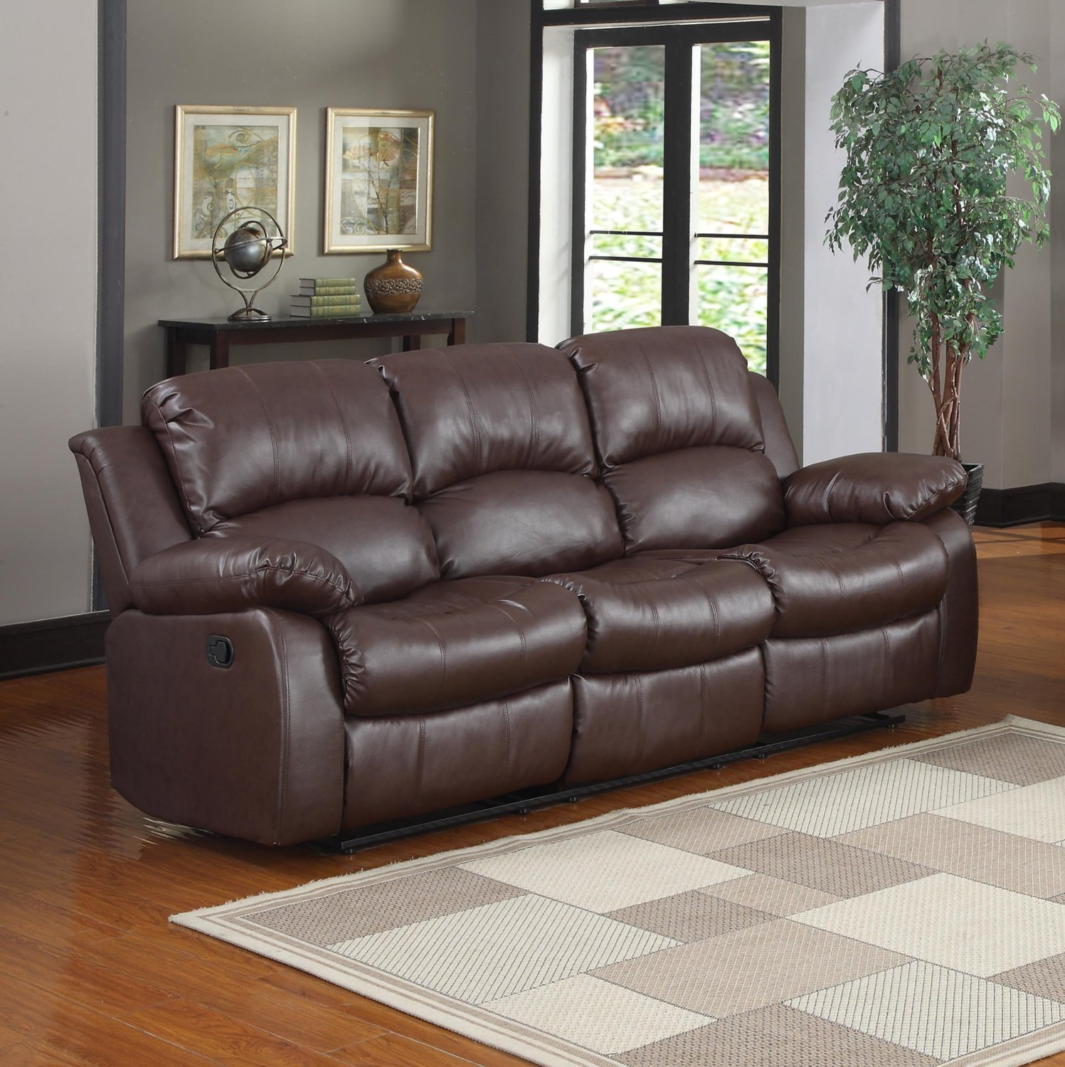 living room with brown sofa. Amazon com  Bonded Leather Double Recliner Sofa Living Room Reclining Couch Brown Kitchen Dining