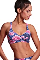 POPFLEX Sweetheart Ruched Sports Bra with Criss Cross Strappy Back Removable Bra Cups