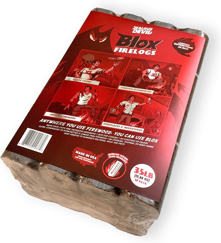 Jealous Devil Blox Hickory/Oak Compressed Natural Hardwood Fire Wood, 12 Logs