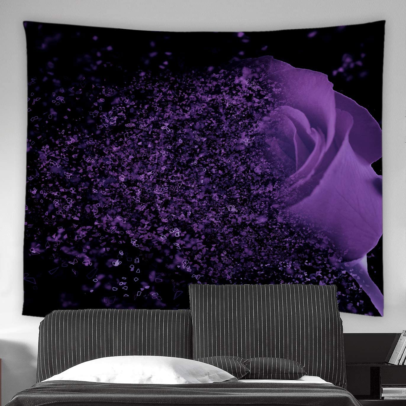 AMFD Flower Tapestry Purple Rose Fantasy Dream Flower Magic Glamorous Black Background Home Decor Wall Hanging Art for Living Room Bedroom Dorm 90x71 Inch