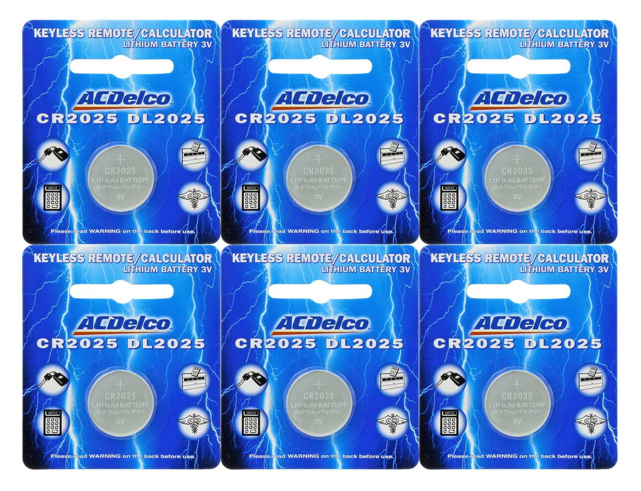 ACDelco CR2025 3V Lithium Coin Cell Battery, Watch and Electronics Button Batteries, 6 Count