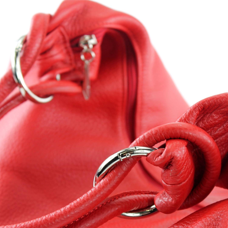 modamoda de - 337 - ital axelväska hobo Shopper läder röd