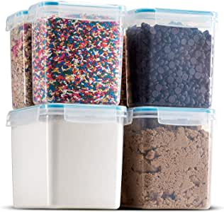 Komax Biokips Dry Food Storage Containers | (set of 6) Airtight Pantry Organization and Storage Containers | Baking Supplies, Flour, Sugar Canister Set | BPA-Free, Freezer, and Dishwasher Safe