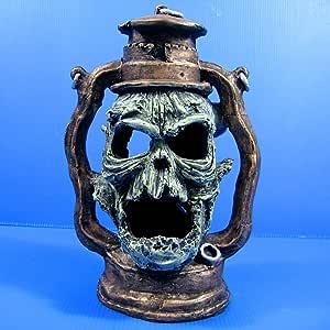 """Devil Oil Lamp Skull cave 6.7""""x4.9""""x9.8"""" Aquarium Ornament Decor aquatic Bonsai"""