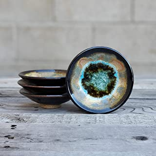 product image for Geode Ring Dish in Sienna and Black, Individual Geode Ring Dish, Fused Glass Dish, Trinket Dish, Soap Dish, Crackle Glass, Candle Holder, Dock 6 Pottery, Kerry Brooks Pottery