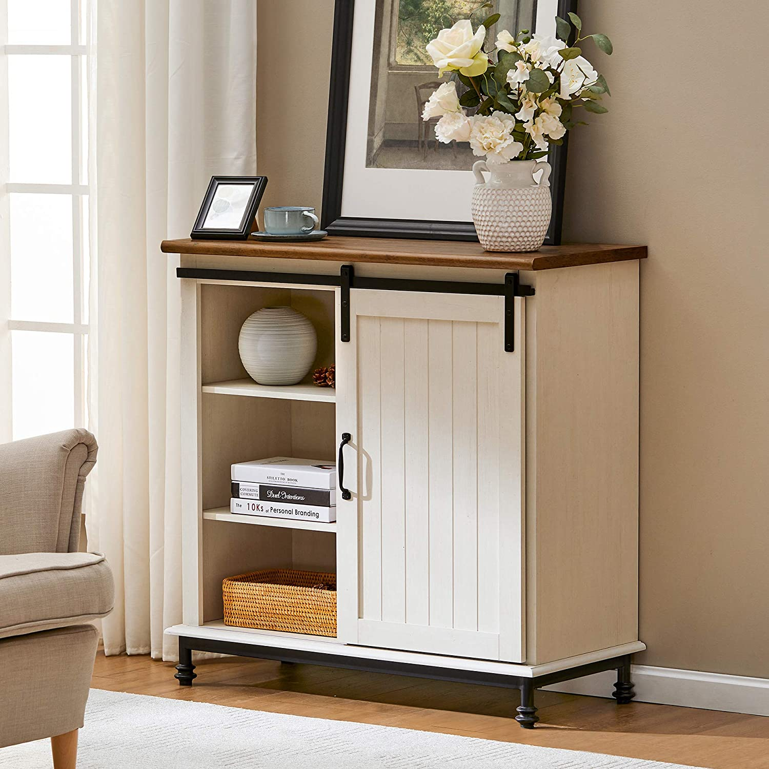 WAMPAT Farmhouse Sliding Barn Door Accent Cabinet Buffet Entryway Bar Storage Table for Living Room, Bathroom and Home Kitchen, 30 Inch, White