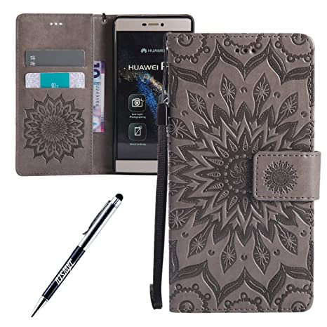 Funda Huawei P7, Carcasa Huawei P7, JAWSEU Huawei Ascend P7 Tapa Trasera Carcasa Diseño Floral en Relieve Cuero Billetera PU Leather Premium y Suave ...