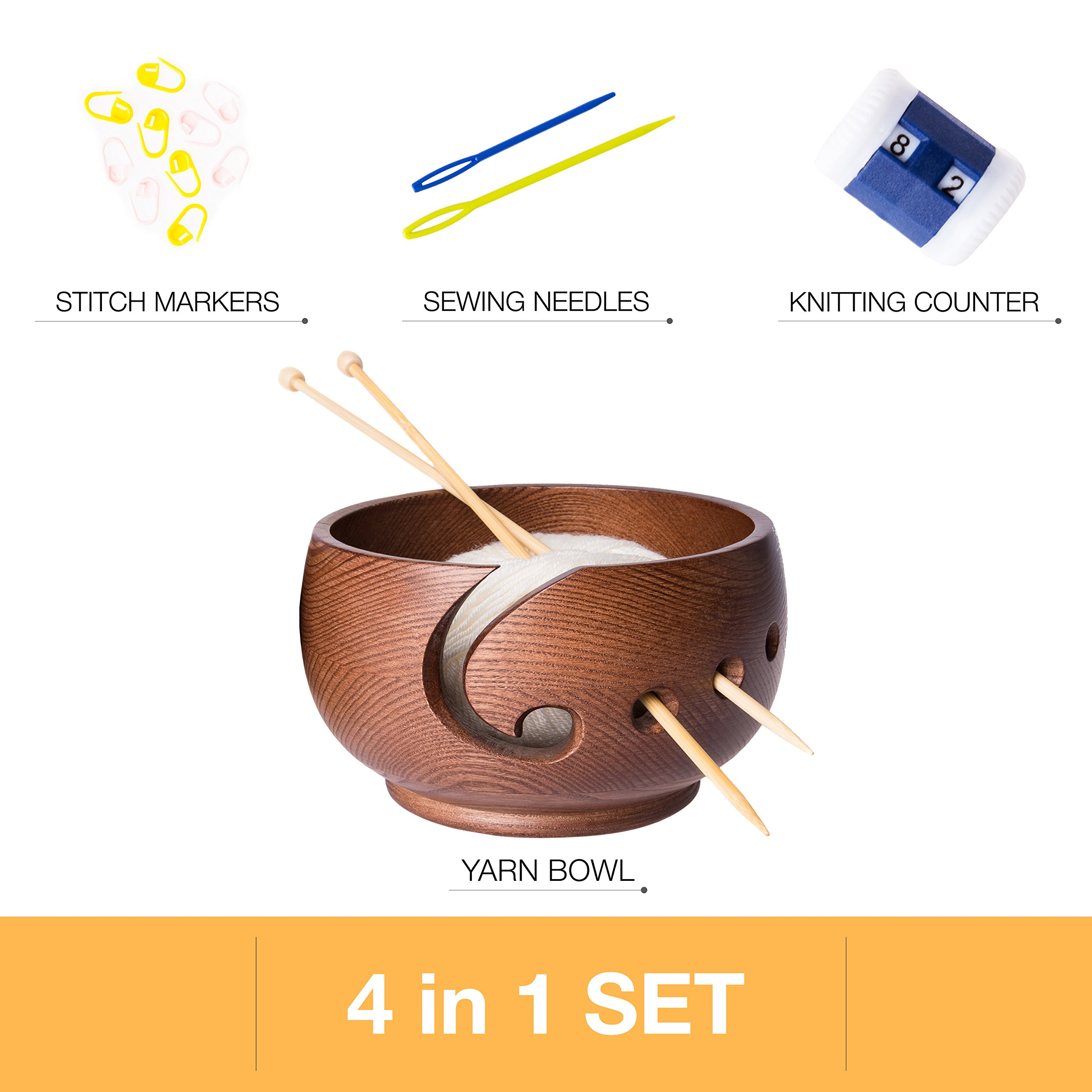 Yarn Bowl for Crochet by Laborwood | Large Size Wooden Knitting Bowl 7''x4'' inch | Handmade Heavy Cat Yarn Bowl Wood | Must Have Wooden Knitting Bowls | Set of 3 Gifts Bonus | Best Gift Ever (Chestnut) by Laborwood (Image #5)