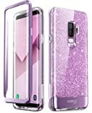 Samsung Galaxy S9 Plus Case, [Built-in Screen Protector] i-Blason [Cosmo] Full-Body Glitter Clear Bumper Case for Galaxy S9 Plus (2018 Release) (Purple)