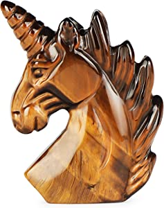 "Artistone 3"" Unicorn Stone Statue,Hand- Carved Healing Crystal Gemstones Unicorn Figurine Reiki Sculpture Desk Decor Ornametns with Gift Box(Yellow Tiger Eye )"