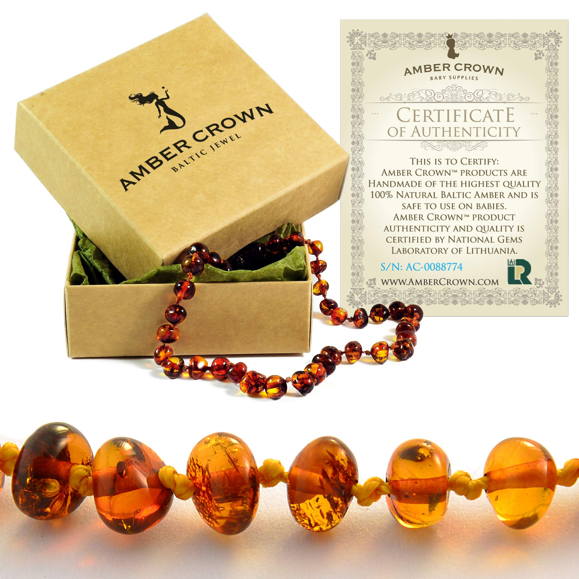 Amber Teething Necklace for Babies - Anti Inflammatory, Drooling and Teething Pain Reducing Natural Remedy - Made of Highest Quality Certified Baltic Amber - Perfect Baby Shower Gift - (Honey) by Amber Crown