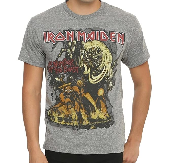 85c0ee062a2f Amazon.com: Cyberteez Iron Maiden Gray Number of The Beast T-Shirt ...