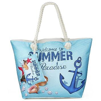 0c542453c34d9 Große Wasserdicht Strandtasche mit Reissverschluss