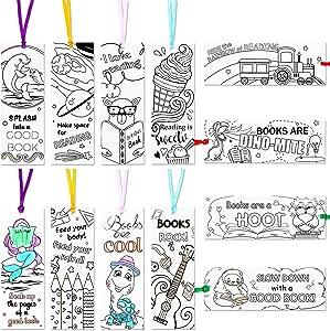 120 Pieces Color Your Own Bookmarks DIY Coloring Bookmarks Coloring Paper Bookmarks for Teachers Students Classroom Rewards