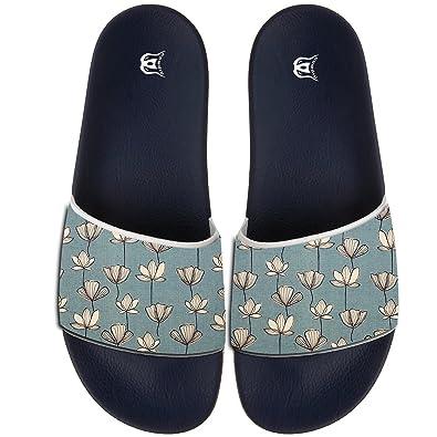 Lotus Leaves Pattern Slippers Skid-proof Indoor Outdoor Flat Flip Flops Beach Pool Slide Sandals For Men Women