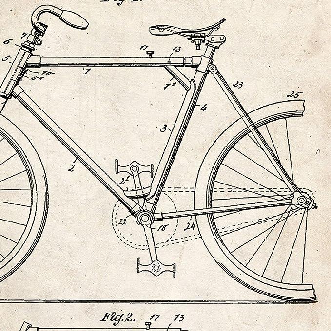 Nacnic Vintage - Pack de 4 láminas con Patentes de Bicicletas. Set ...