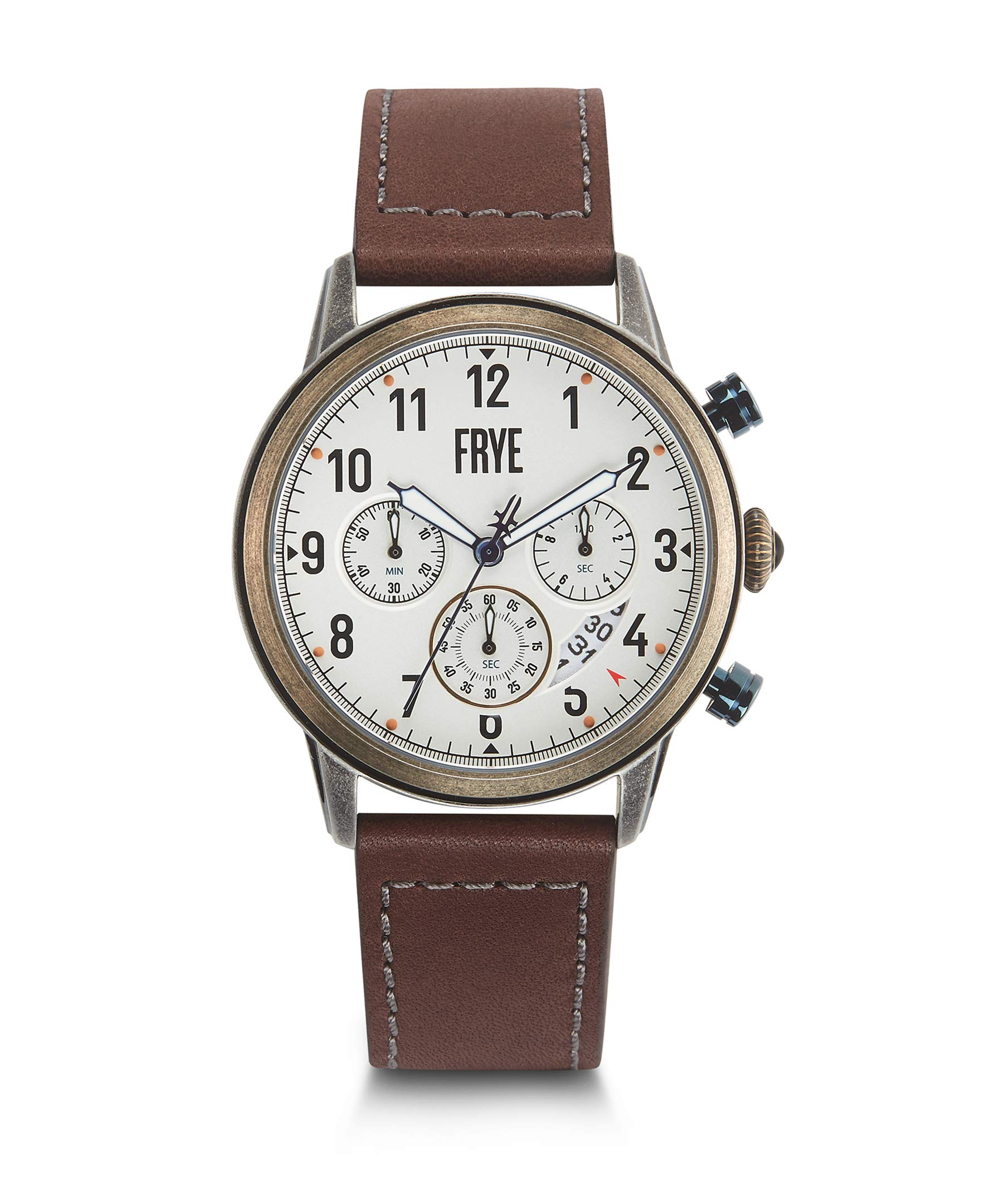 FRYE Men's Graham Stainless Steel Japanese Quartz Leather Strap, Brown, 24 Casual Watch (Model: 37FR00009-04) by FRYE