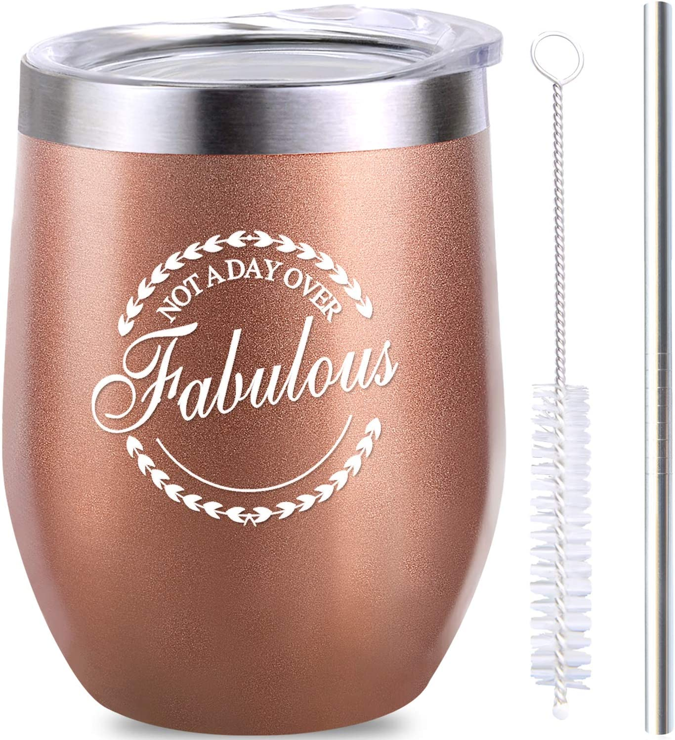 Not a Day Over Fabulous - Birthday Gifts for Women Funny Birthday Christmas Wine Gift Idea for Women Best Friend Her Wife Daughter - 12oz Insulated Wine Tumbler Coffee Cup with Lid Straw Clean Brush
