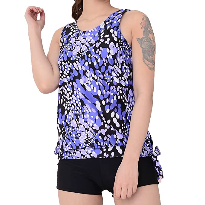 c4acc3c2c1 Yonfro Women's dewdrop Printed Slimming Tankini Two Piece Swimsuits Tops  Boyshort Set With Brief Plus Size