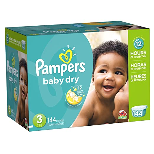 Pampers Baby Dry Diapers Size 3, 144 Count